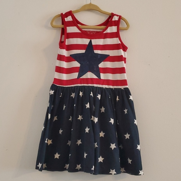 Little girl red white and blue dress